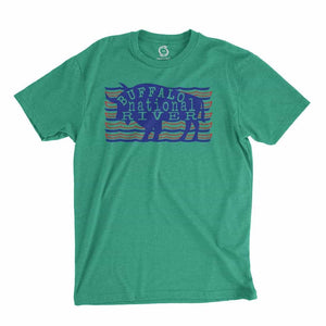 Eco-friendly, hand-printed custom t-shirt that's super soft to the touch and features a Buffalo National River graphic design