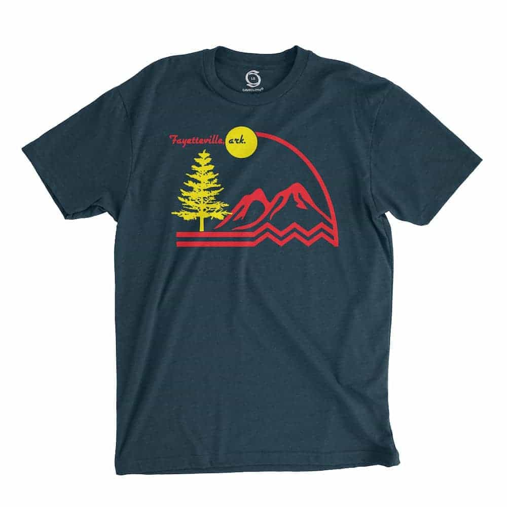 Eco-friendly, hand-printed custom t-shirt that's super soft to the touch and features a Fayetteville Arkansas graphic design