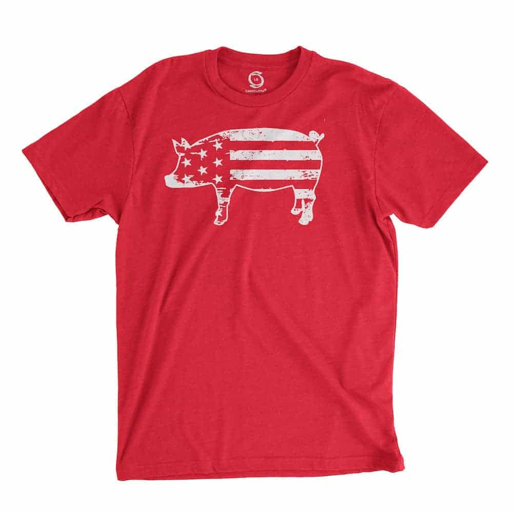 Eco-friendly, hand-printed custom t-shirt that's super soft to the touch and features a freedom pig USA graphic design. God bless 'Merica