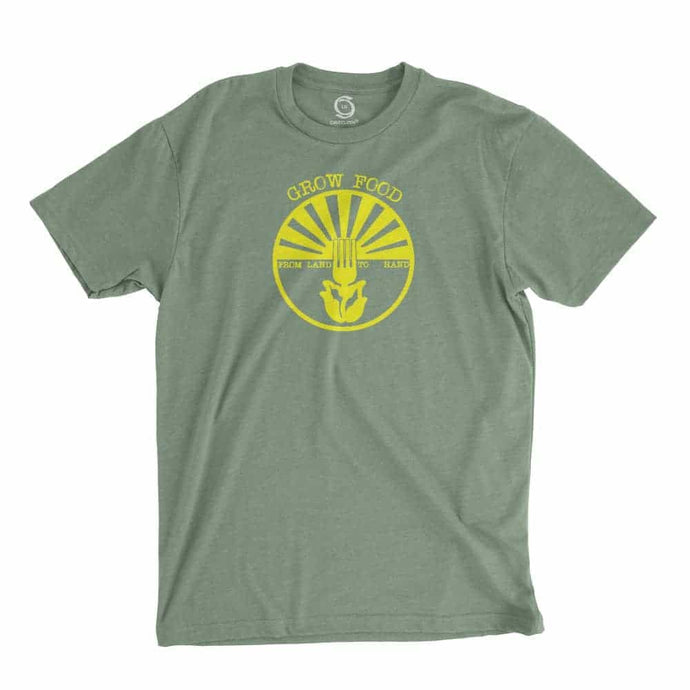 Eco-friendly, hand-printed custom t-shirt that's super soft to the touch and features a grow food design