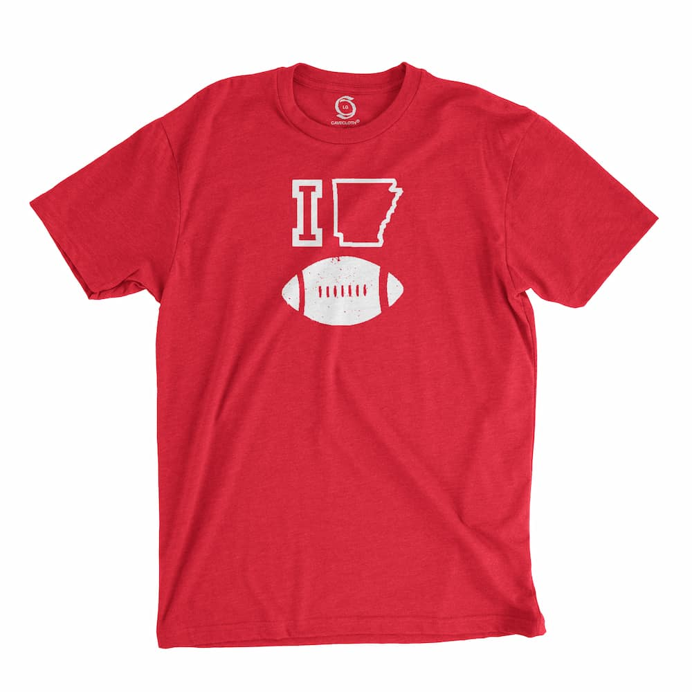 Eco-friendly, hand-printed custom t-shirt that's super soft to the touch and features a I love Arkansas Razorbacks football design