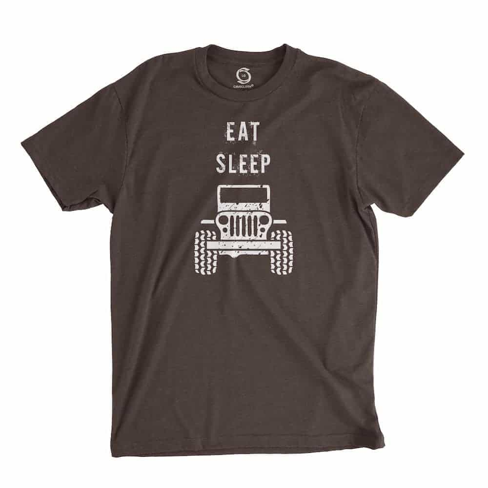 Eco-friendly, hand-printed custom t-shirt that's super soft to the touch and features a eat sleep Jeep graphic design