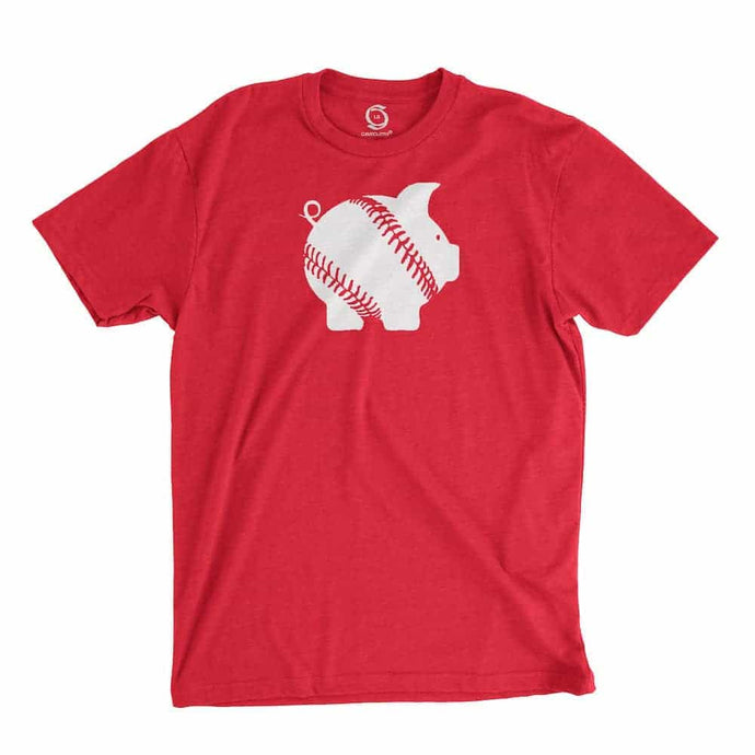 Eco-friendly, hand-printed custom t-shirt that's super soft to the touch and features a piggy ball Arkansas baseball graphic design