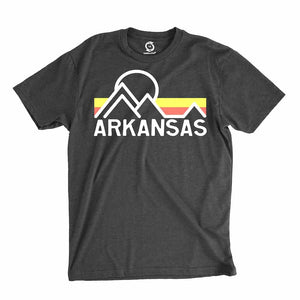 Eco-friendly, hand-printed custom t-shirt that's super soft to the touch and features a retro Arkansas vintage graphic design