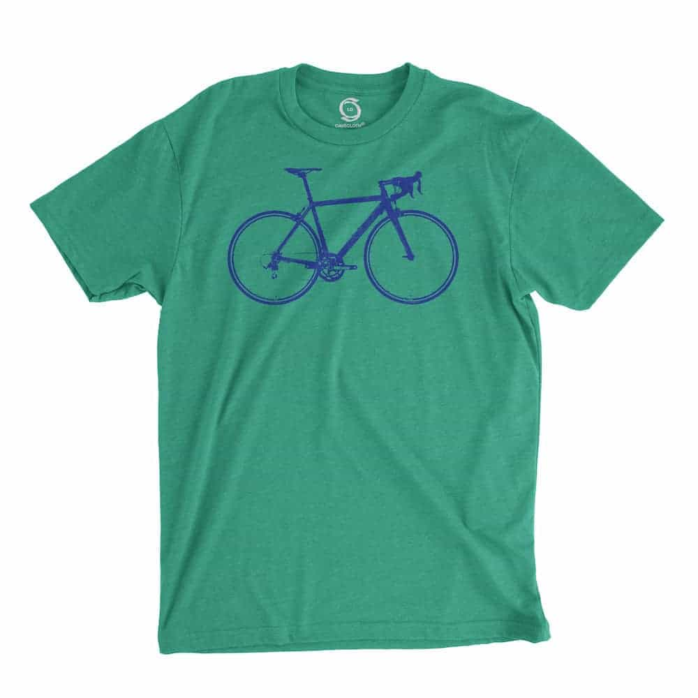 Eco-friendly, hand-printed custom t-shirt that's super soft to the touch and features a road bike graphic design