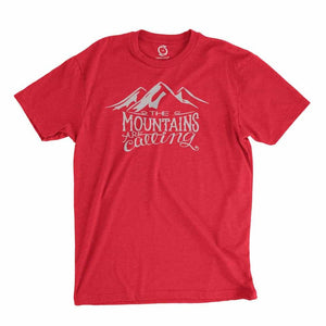 Eco-friendly, hand-printed custom t-shirt that's super soft to the touch and features a The Mountains are Calling graphic design