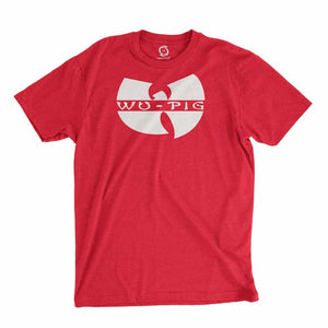 Eco-friendly, hand-printed custom t-shirt that's super soft to the touch and features a Wu Tang Arkansas Football graphic design