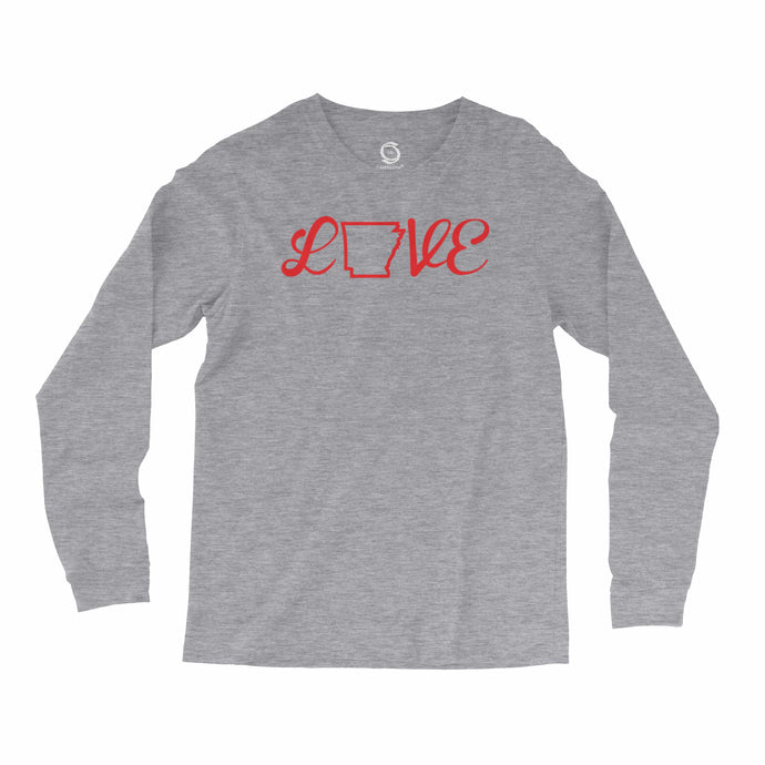 Eco-friendly, hand-printed, custom long sleeve t-shirt that's super soft to the touch and features a Arkansas love graphic design