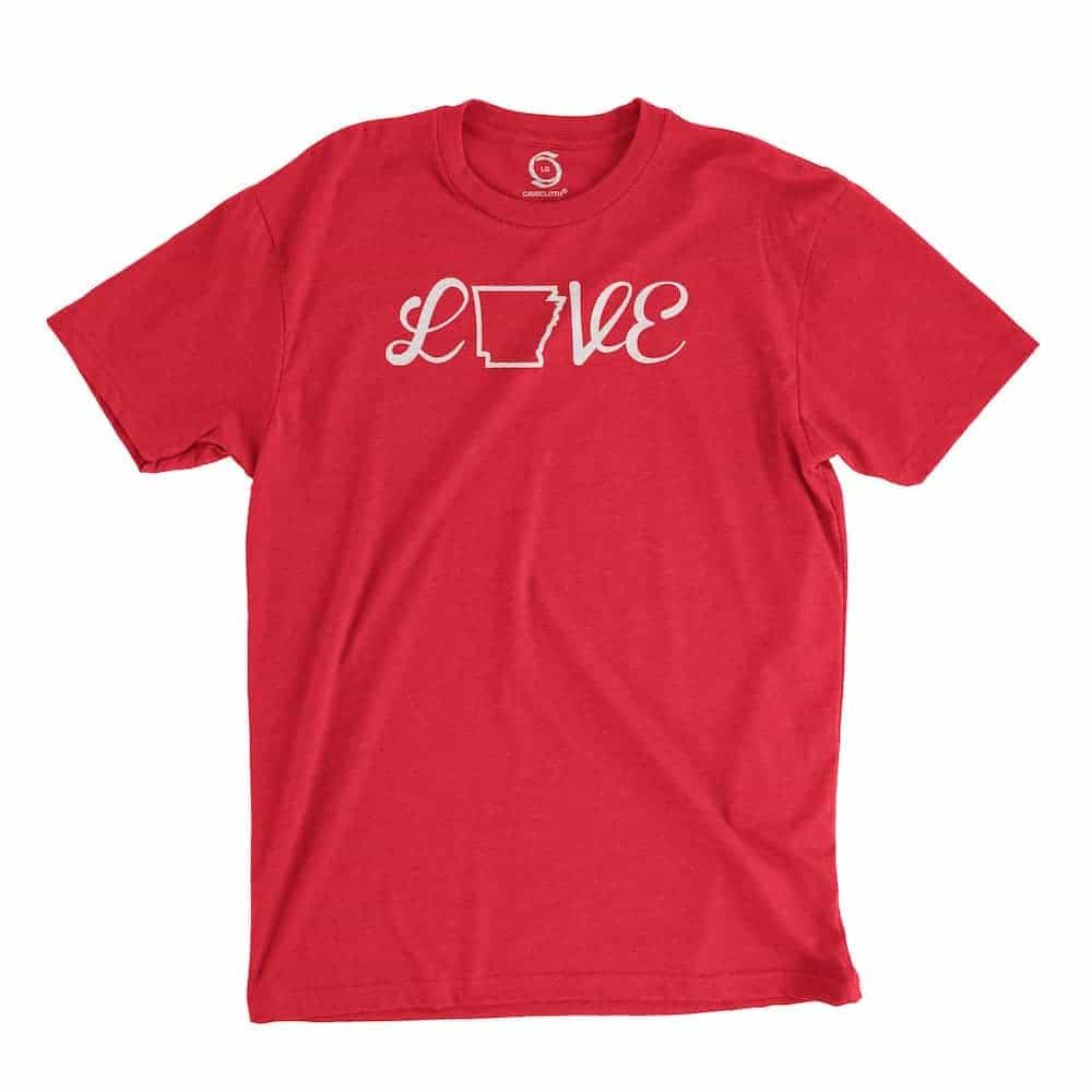 Eco-friendly, hand-printed custom t-shirt that's super soft to the touch and features a love Arkansas graphic design