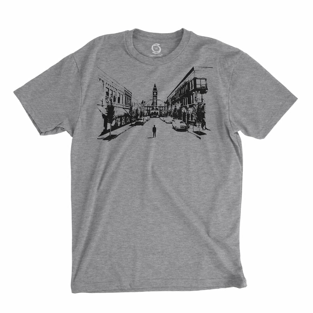 Eco-friendly, hand-printed custom t-shirt that's super soft to the touch and features a Fayetteville Arkansas Courthouse graphic soft design