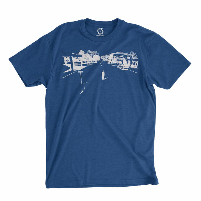 Eco-friendly, hand-printed custom t-shirt that's super soft to the touch and features a Fayetteville Arkansas Dickson Street graphic soft design