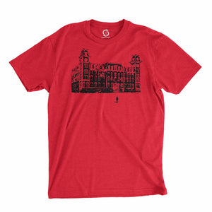 Eco-friendly, hand-printed custom t-shirt that's super soft to the touch and features a Fayetteville Arkansas Old Main graphic soft design