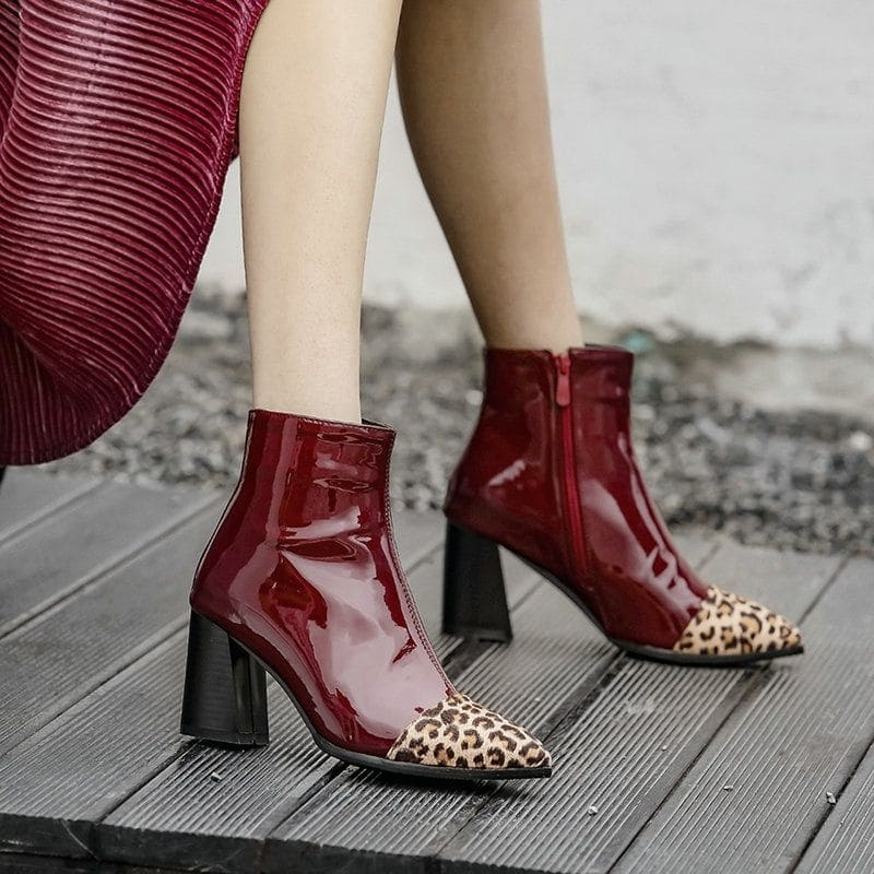 Bottines Léopard Vinyles Bordeaux