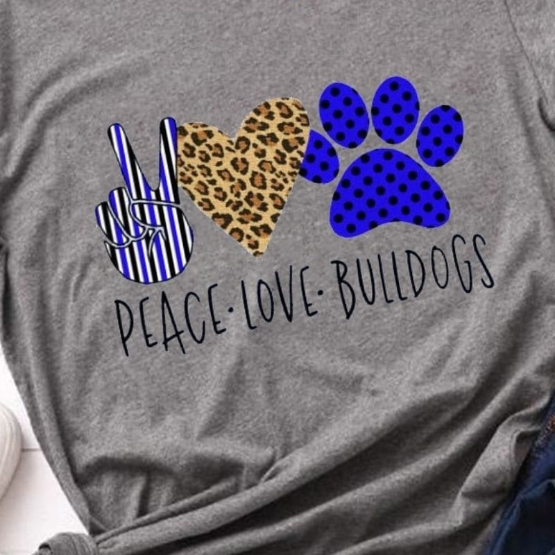 T-Shirt Léopard Peace Love Bulldogs