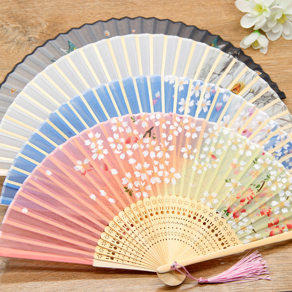 Bamboo Fans with Floral Designs - The Good Rice