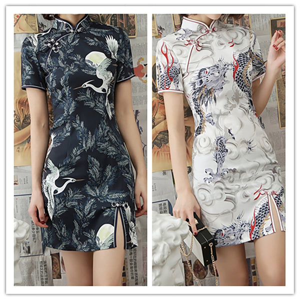 Elegant Dragon Crane Qipao - The Good Rice