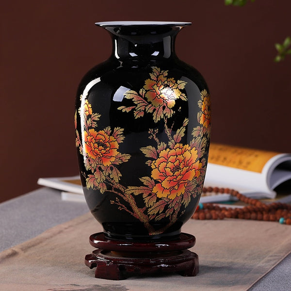 Jingdezhen Black Porcelain Crystal Glaze Flower Vase - The Good Rice