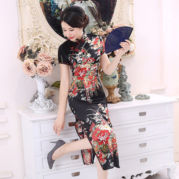 Elegant Cheongsam with Floral Designs - The Good Rice