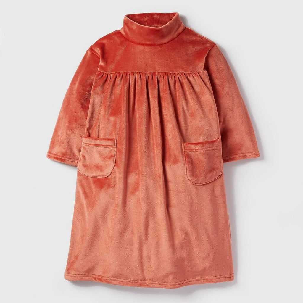 POISSON Coral Velvet Dress
