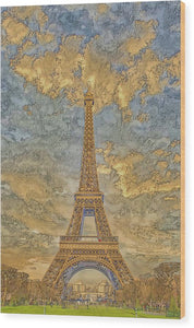 A.I. Collection Eiffel Tower Sunset - Wood Print