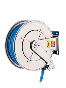 Water hose reels- corrosion resistant 304 stainless, swivel, food safe use, wash down processes, processes, manufacturing plants, chemical safe use.