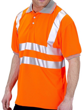 Load image into Gallery viewer, Hi Viz Short Sleeve Polo Top   Yellow or Orange