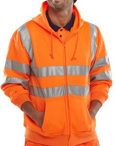 Hi Viz Zip Up Hoody  Yellow or Orange