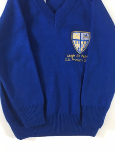Leigh St Peters Nursery & Reception Knitted V Neck Jumper with LOGO