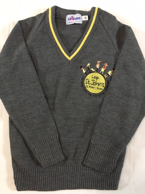 Leigh St John's CE Primary School Knitted V Neck Jumper with LOGO