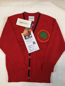 Lowton Junior & Infants School Cotton Red Cardigan with LOGO
