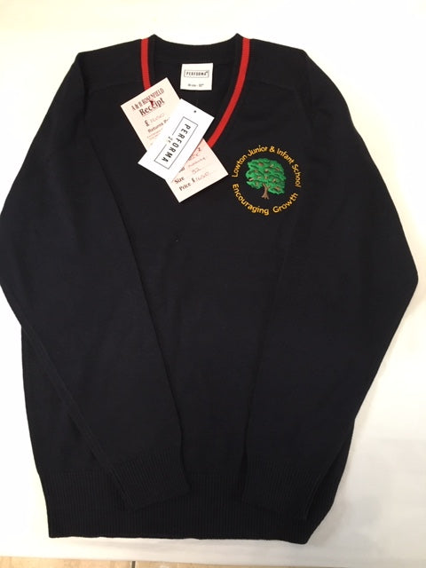 Lowton Junior & Infants School Cotton Acrylic V Neck Navy (Yr 6) Jumper with LOGO