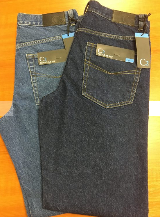 C2 JEANS BY CARABOU STONE WASH & INDIGO REGULAR FIT JEANS