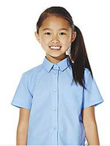 Girls Blue Short Sleeve Blouse