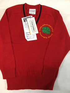 Lowton Junior & Infants School Cotton Acrylic V Neck Red Jumper with LOGO