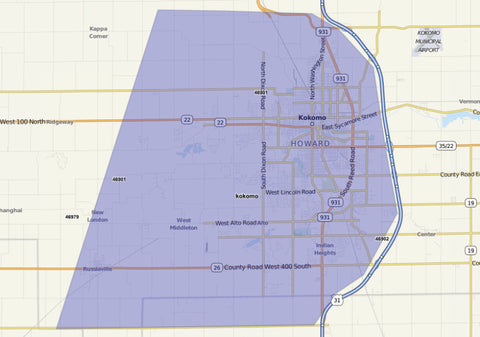 Kokomo Magazine Distribution Map