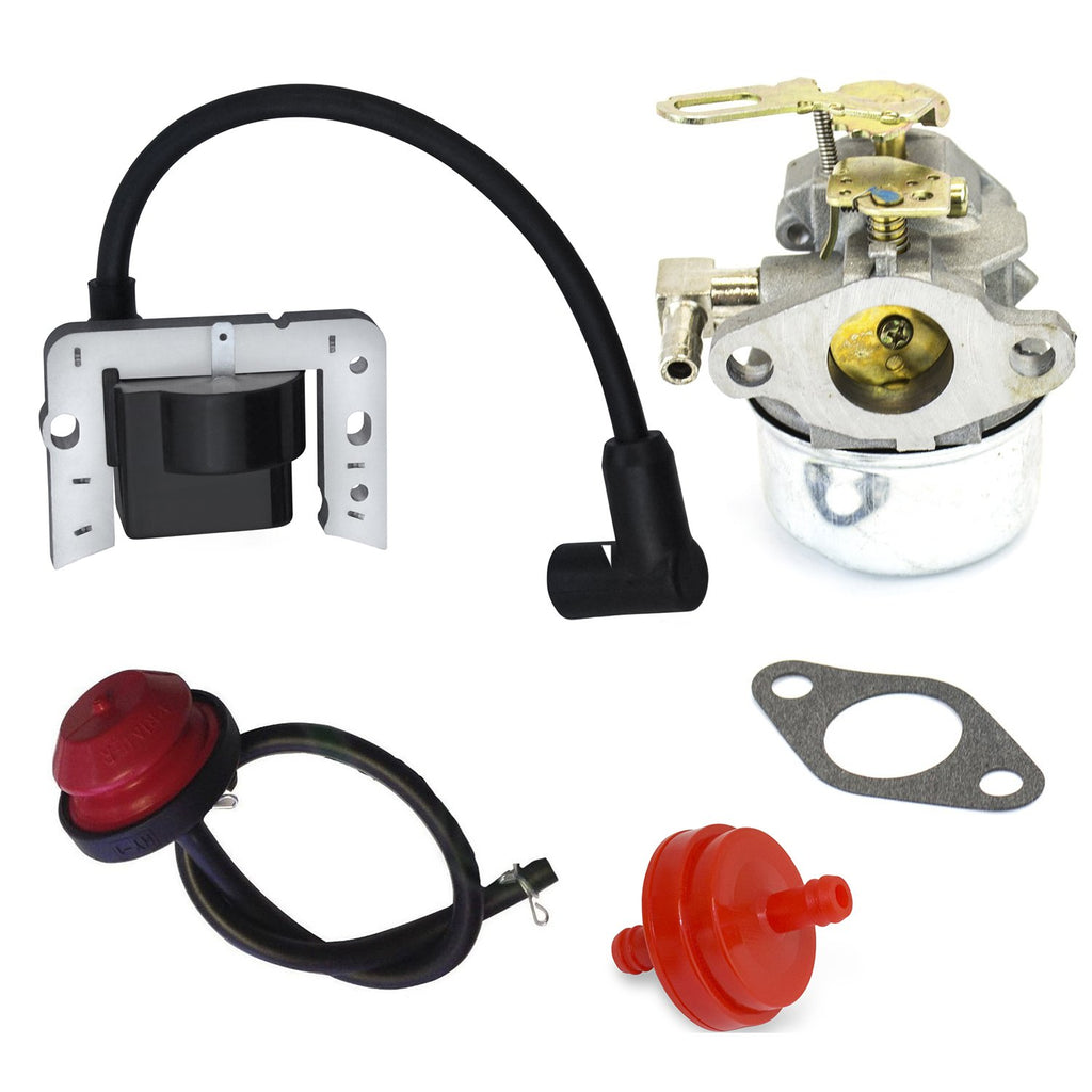 New Carburetor For Tecumseh Craftsman Snowblower Snowking Primer Bulb Fuel Line Filter Ignition Coil Gasket