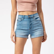 Load image into Gallery viewer, High Waisted Semi-Distressed Light Denim Shorts *FINAL SALE*