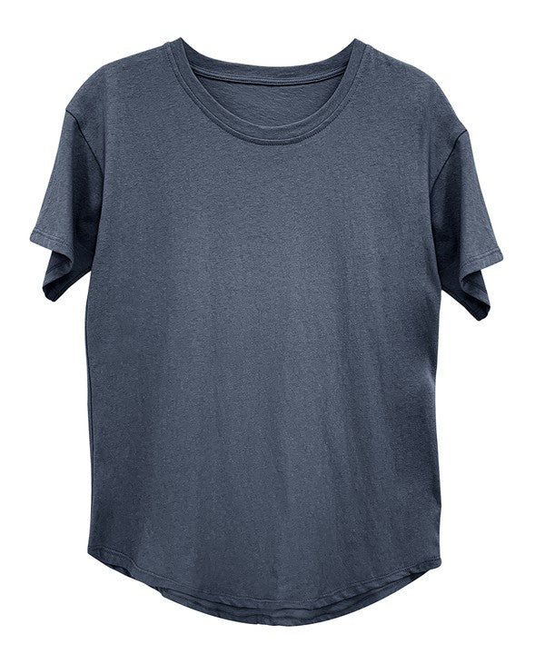 RECYCLED COTTON CLASSIC BASIC TOP - NAVY