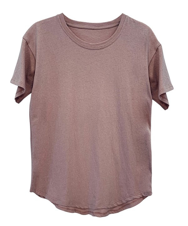 RECYCLED COTTON CLASSIC BASIC TOP - MAUVE