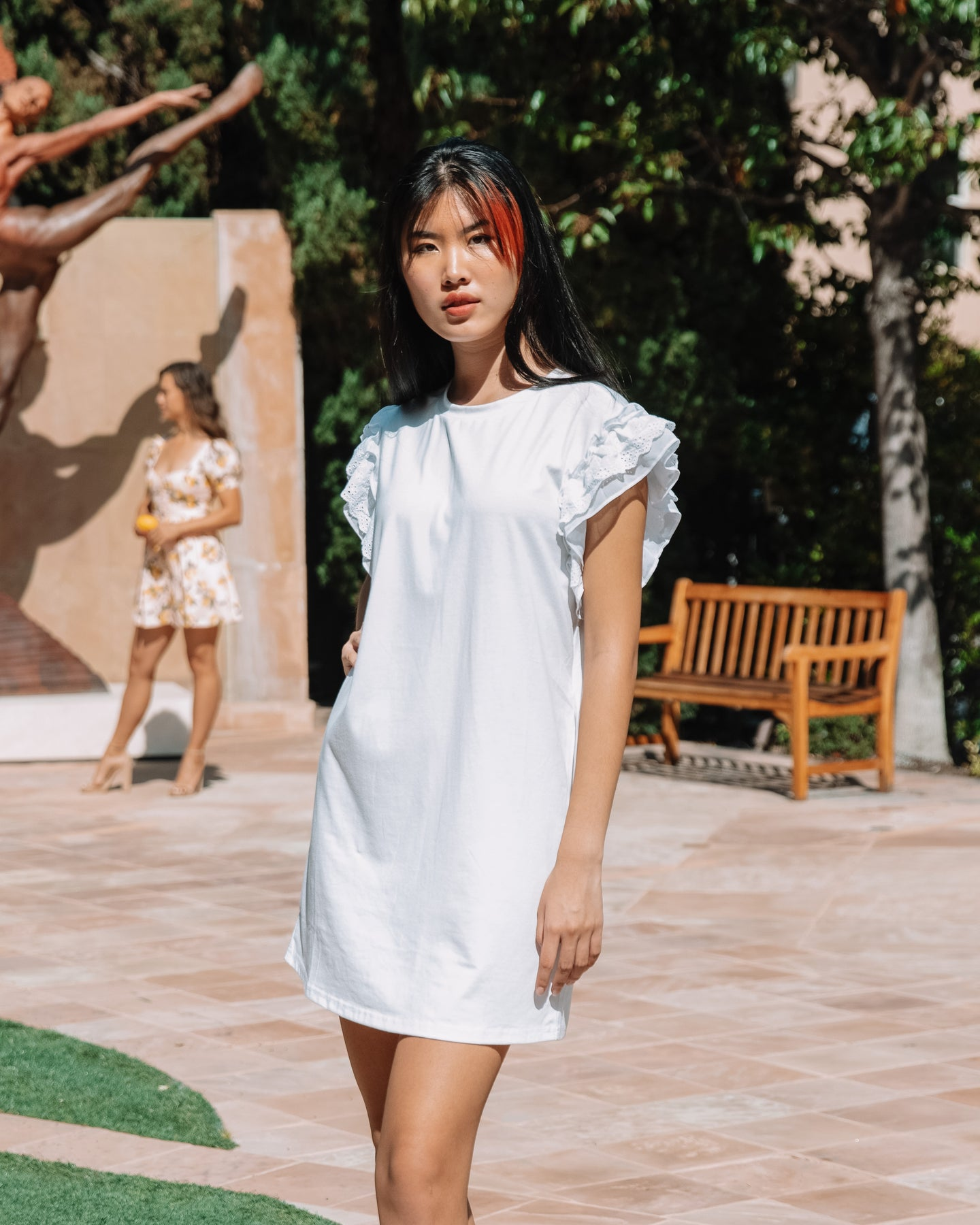 Ruffled Sleeve Shift Dress