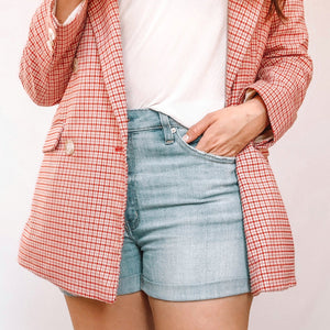 High Waisted Semi-Distressed Light Denim Shorts *FINAL SALE*