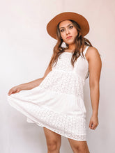 Load image into Gallery viewer, WHITE TIERED MINI SUN DRESS