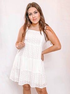 WHITE TIERED MINI SUN DRESS