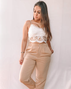 SLIM CROPPED PANTS - BEIGE