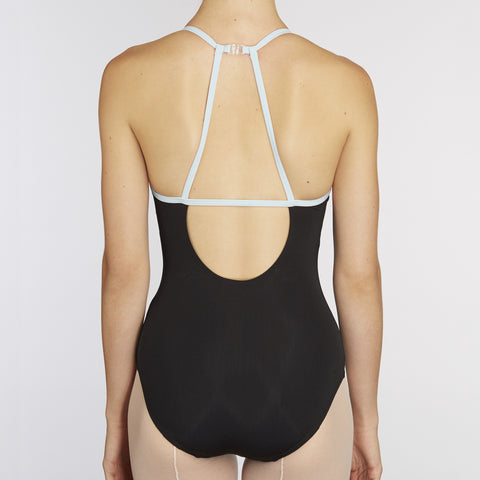 X-Front Leotard:  BLACK / BABY BLUE