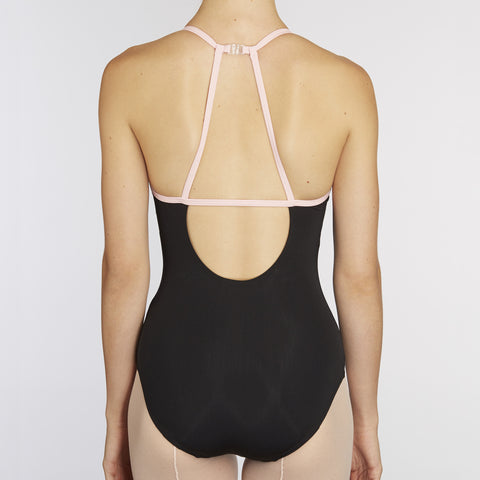X-Front Leotard:  BLACK / PINK