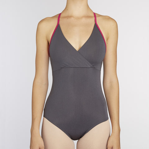X-Front Leotard:  GUNMETAL / RASPBERRY