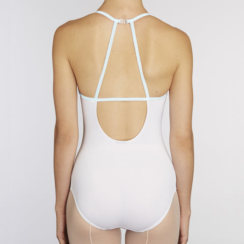 X-Front Leotard:  WHITE / BABY BLUE