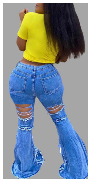 Women's Denim Skinny Flared Jeans - Sexy~N~Snappy