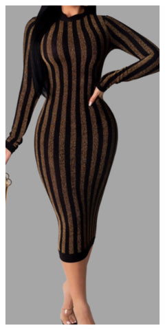 Snappy Body-con Long Sleeve Striped Dress - Sexy~N~Snappy